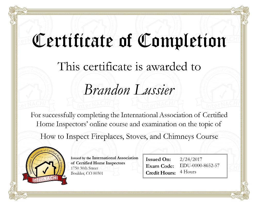 The lussier team home inspection training and certification internachi how to inspect fireplaces stoves and chimneys course certificate of completion 1betcityfo Gallery