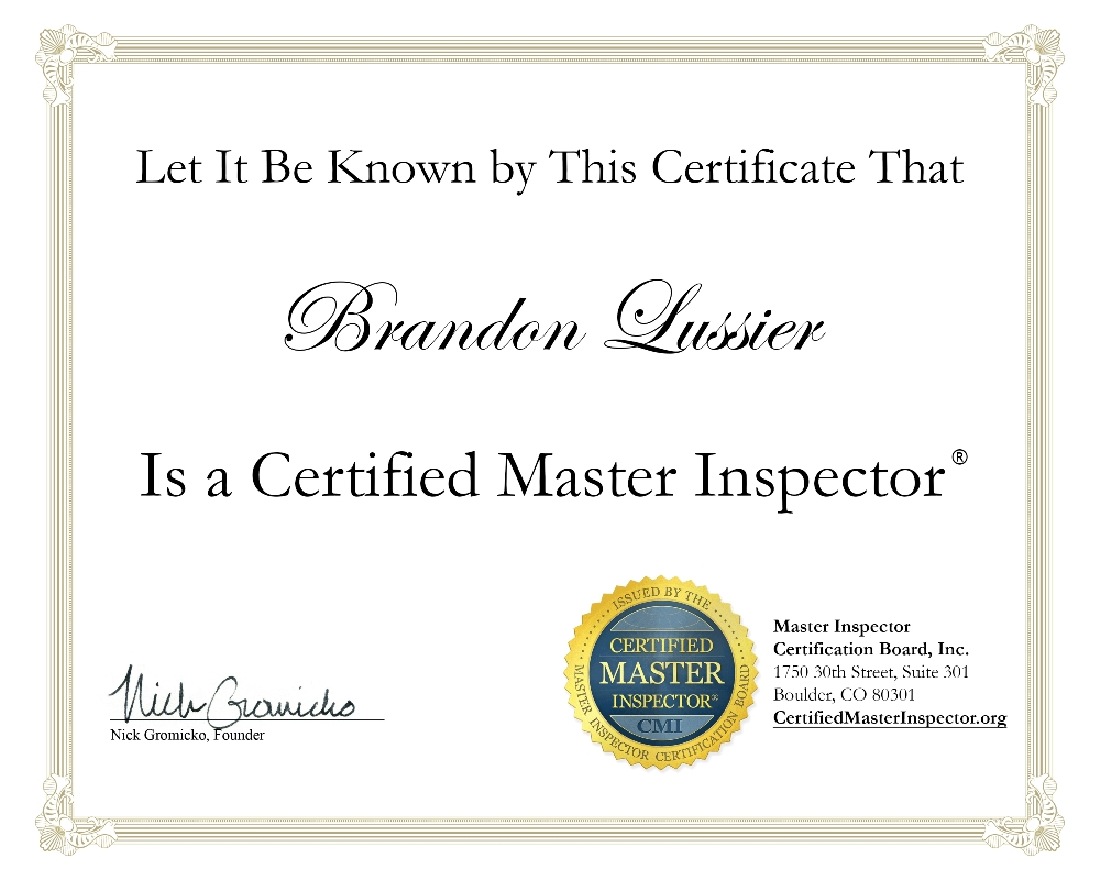 The lussier team home inspection training and certification master inspector certification board certified master inspector xflitez Gallery